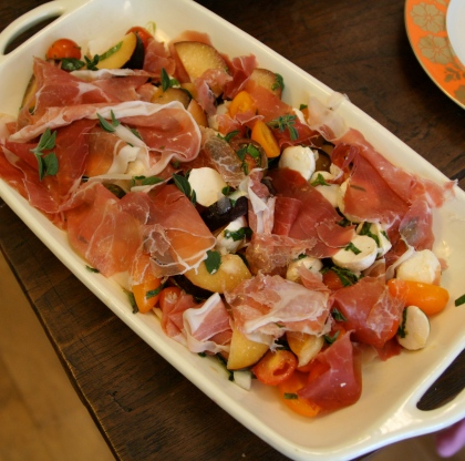 Plum and Mozzarella Salad with Prosciutto