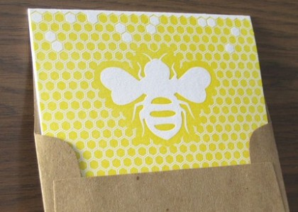 letter press bee card